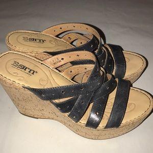 BORN Size 8 platform wedge sandals cork & Black